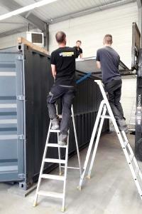 Aménagement container restaurant | Pose auvent