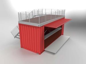 Conteneur restaurant avec terrasse sur toit