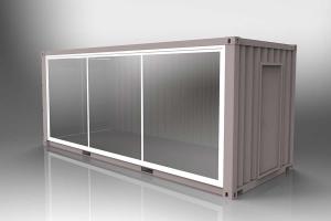 Conteneur aménagé avec vitrine d'exposition