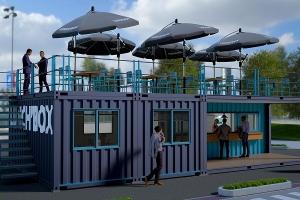 SNACK' Cube container maritime aménagé restaurant snack avec terrasse