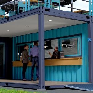 SNACK' Cube container maritime aménagé snack avec terrasse