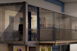 Conteneur bureau coworking aménagé pour le Projet CONTAINERLAND à CIVRIEUX